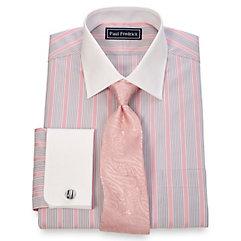 2-Ply Cotton Alternating Stripe Spread Collar French Cuff Dress Shirt $50.00 AT vintagedancer.com
