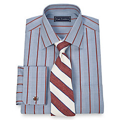 Trim Fit 2-Ply Cotton Glen Plaid Spread Collar French Cuff Dress Shirt $80.00 AT vintagedancer.com