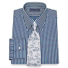 1930s Style Mens Shirts Cotton Herringbone Stripe Dress Shirt $80.00 AT vintagedancer.com