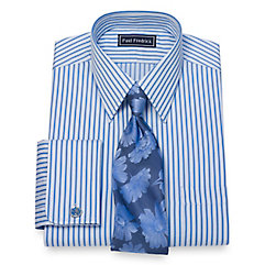 1930s Style Mens Shirts Cotton Stripe Dress Shirt $80.00 AT vintagedancer.com