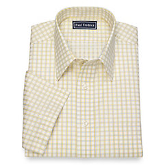 1930s Style Mens Shirts Cotton Windowpane Short Sleeve Dress Shirt $80.00 AT vintagedancer.com