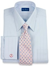 Tone-on-Tone Tread Stripe French Cuffs Dress Shirt