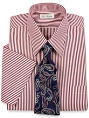 Non-Iron Cotton Bengal Stripe Short Sleeve Dress Shirt