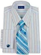 European Style Shadow Stripe French Cuff Dress Shirt