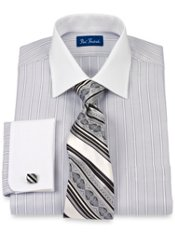 Cotton Satin Herringbone Stripes Windsor Collar French Cuff Trim Fit Dress Shirt