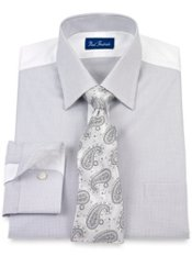 2-Ply Cotton Mini Check Short Point Collar Trim Fit Dress Shirt