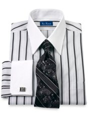 Cotton Satin Stripes Straight Collar French Cuff Trim Fit Dress Shirt