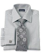 Cotton Alternating End-on-End Windsor Collar French Cuff Trim Fit Dress Shirt