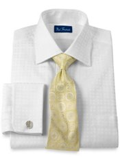 Cotton Satin Windowpane Windsor Collar French Cuff Trim Fit Dress Shirt