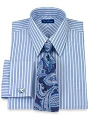 Luxury Cotton Striped Straight Collar French Cuff Trim Fit Dress Shirt