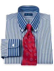2-Ply Cotton Bengal Stripe Button Down Collar Trim Fit Dress Shirt