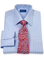 2-Ply Cotton Satin Windowpane Spread Collar Dress Shirt