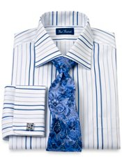 2-Ply Cotton Satin Stripe Windsor Collar French Cuff Trim Fit Dress Shirt