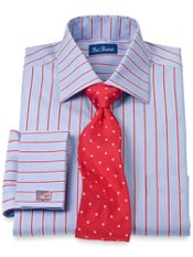 2-Ply Cotton Twin Satin Stripe Spread Collar French Cuff Dress Shirt