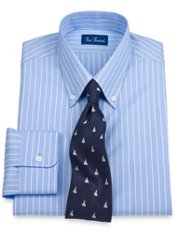2-Ply Cotton Pinpoint Oxford Fineline Stripe Button Down Trim Fit Dress Shirt