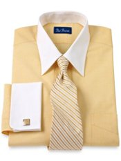 Cotton End-on-End Straight Collar French Cuff Dress Shirt