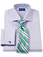 Cotton Herringbone Stripe Cutaway Collar French Cuff Trim Fit Dress Shirt