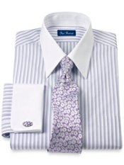 2-Ply Cotton Varigated Stripes Straight Collar French Cuff Dress Shirt