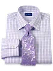 2-Ply Cotton Check Windsor Collar Trim Fit Dress Shirt