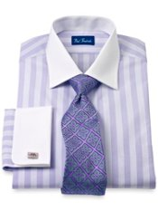 2-Ply Cotton Striped Windsor Collar French Cuff Trim Fit Dress Shirt