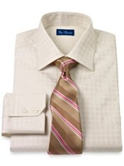 2-Ply Cotton Satin Windowpane Windsor Collar Trim Fit Dress Shirt