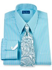 2-Ply Cotton Satin Bengal Stripe Straight Collar Dress Shirt