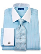 Cotton Herringbone Stripes Windsor Collar French Cuff Trim Fit Dress Shirt