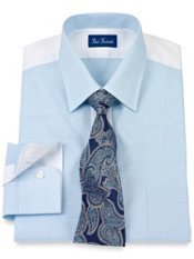 2-Ply Cotton Mini Check Short Point Collar Dress Shirt