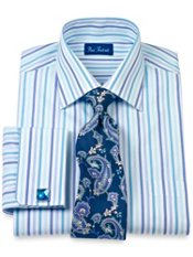 2-Ply Cotton Alternating Stripe Windsor Collar French Cuff Trim Fit Dress Shirt