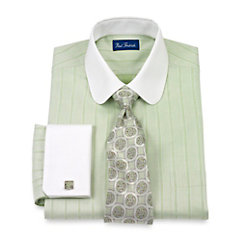 2-Ply Cotton Herringbone Stripe Club Collar French Cuff Dress Shirt