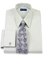 2-Ply Cotton Striped Straight Collar French Cuff Dress Shirt