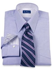 2-Ply Cotton Pinpoint Oxford Straight Collar Trim Fit Dress Shirt