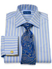 2-Ply Cotton Twin Satin Stripe Spread Collar French Cuff Tirm Fit Dress Shirt