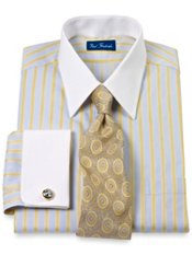 Cotton Alternating Satin Stripe Straight Collar French Cuff Trim Fit Dress Shirt