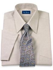 Cotton Pinpoint Oxford Straight Collar Short Sleeve Trim Fit Dress Shirt