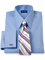 Italian Cotton Satin Stripe Straight Collar French Cuff Trim Fit Dress Shirt