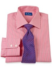 Italian Cotton Satin Stripe Spread Collar Dress Shirt