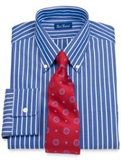 2-Ply Cotton Bengal Stripe Button Down Collar Dress Shirt