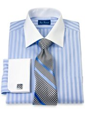 Cotton Twill Stripe Windsor Collar French Cuff Trim Fit Dress Shirt
