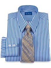 2-Ply Cotton Bold Satin Stripe Straight Collar Trim Fit Dress Shirt