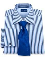 2-Ply Cotton Bold Satin Stripe Spread Collar French Cuff Dress Shirt