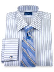 Cotton Shadow Stripe Windsor Collar French Cuff Trim Fit Dress Shirt
