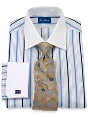 Cotton Satin Stripe Windsor Collar French Cuff Trim Fit Dress Shirt