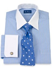 2-Ply Cotton Bengal Stripe Spread Collar French Cuff Trim Fit Dress Shirt