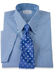 Non-Iron Pinpoint Bengal Stripe Straight Collar Short Sleeve Dress Shirt