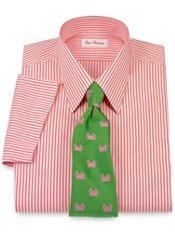 Non-Iron Pinpoint Bengal Stripe Straight Collar Short Sleeve Dress Shirt