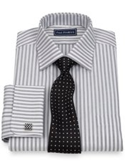 2-Ply Cotton End-on-End Stripe Spread Collar French Cuff Trim Fit Dress Shirt