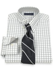 2-Ply Cotton Windowpane Hidden Button Down Collar Dress Shirt