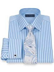 2-Ply Cotton Textured Stripe Spread Collar French Cuff Trim Fit Dress Shirt