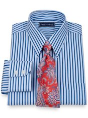 2-Ply Cotton Bold Satin Stripe Straight Collar Dress Shirt